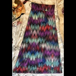 Hot Kiss maxi skirt multi color pattern
